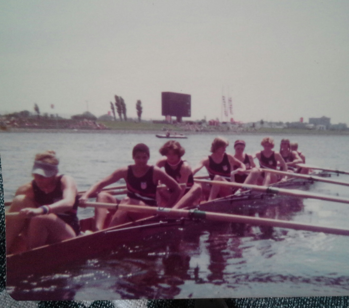 The Women's Eight: Jackie Zoch (stroke), Anita DeFrantz, Carie Graves, Angie Greig, Anne Warner, Peggy McCarthy, Carol Brown, Gail Ricketson, and coxswain Lynn Silliman. Coach: Harry Parker. Anita is now a member of the International Olympic Committee (IOC).