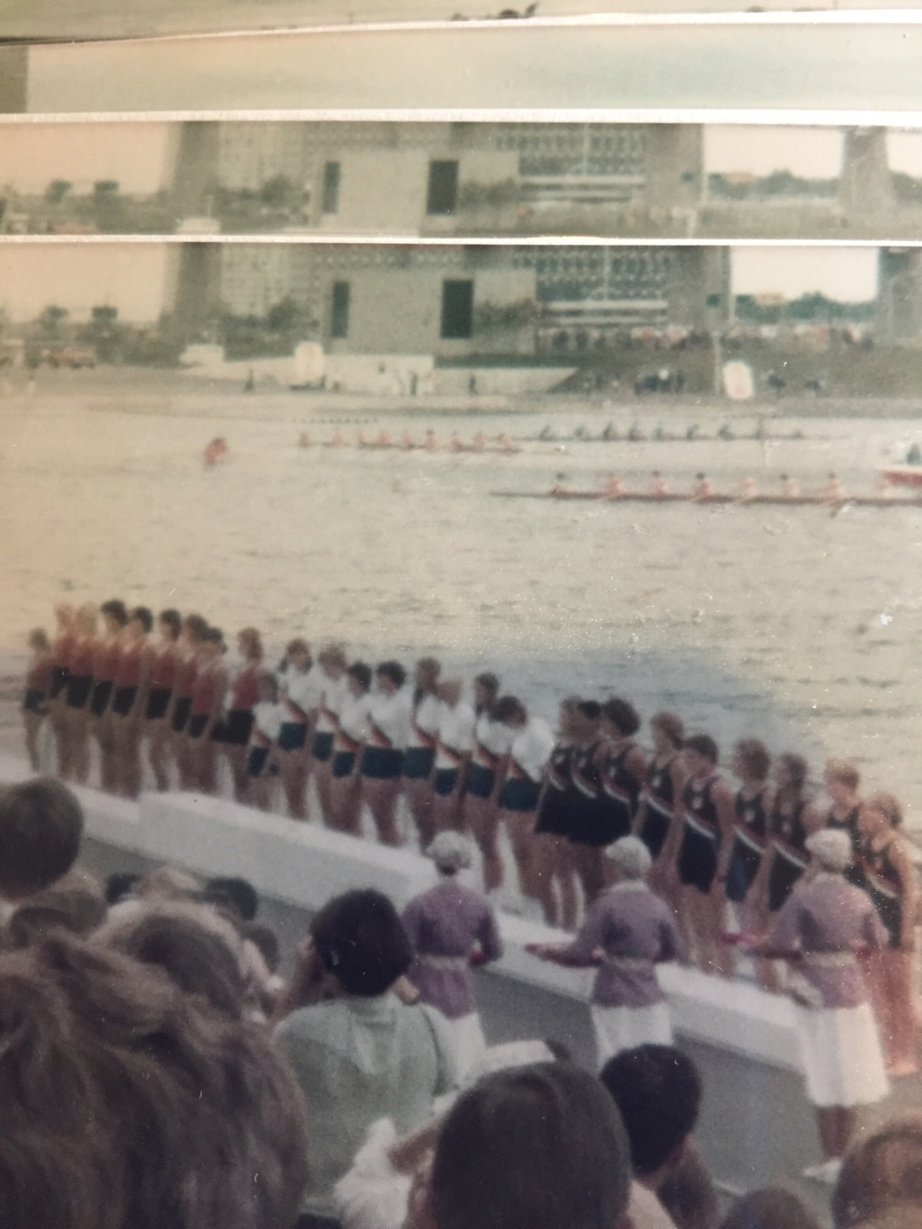 The Women's Eight (right) receiving their bronze medals.  The East Germans took gold, and Russia took silver.