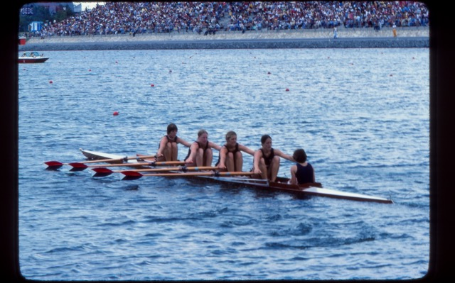 "Women's Quad in training: Karen McCloskey (stroke), Lisa Stone, Liz Hills, Claudia Schneider, and coxswain Irene Moreno. Coach: Tom McKibbon. The quad won the Petite Finals.<br><br>Lisa's daughter, <a href=""http://www.teamusa.org/us-rowing/athletes/Genevra-Stone"" target=""_blank"">Gevvie Stone</a>, is the US single sculler for Rio!"