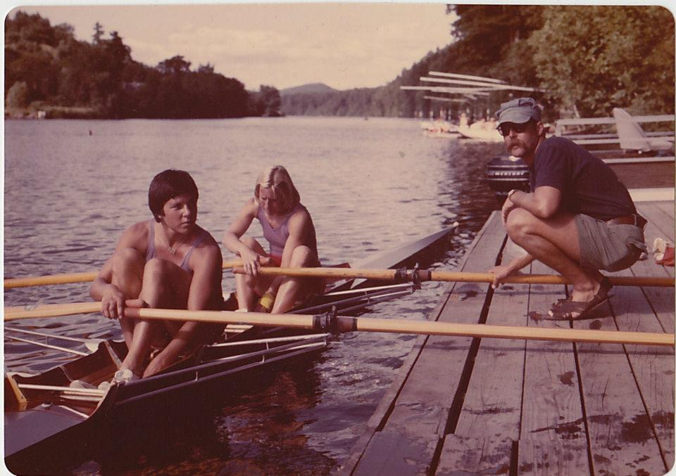 Women's Double Sculls:  Jan Palchikoff (stroke) and Diane Braceland, with coach Bob Ernst.