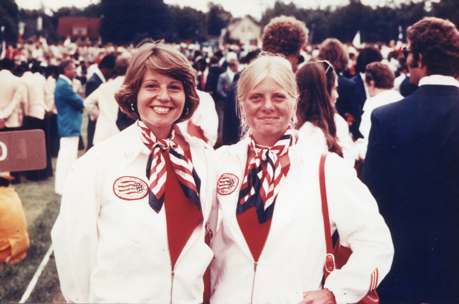 The Women's Pair: Laura Staines and Sue Hooten, ready for the Opening Ceremony.