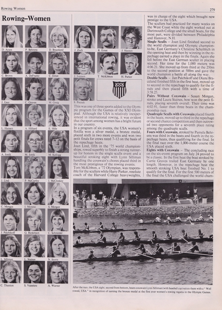 Newspaper clipping reviewing the US Women's Rowing Team.