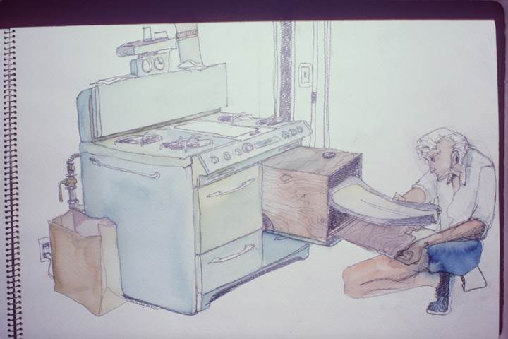 An early sketch by Co-Founder Peter Dreissigacker showing his brother, Dick, curing early oar blades in an oven. They had been building experimental oars in the kitchen of their California apartment.