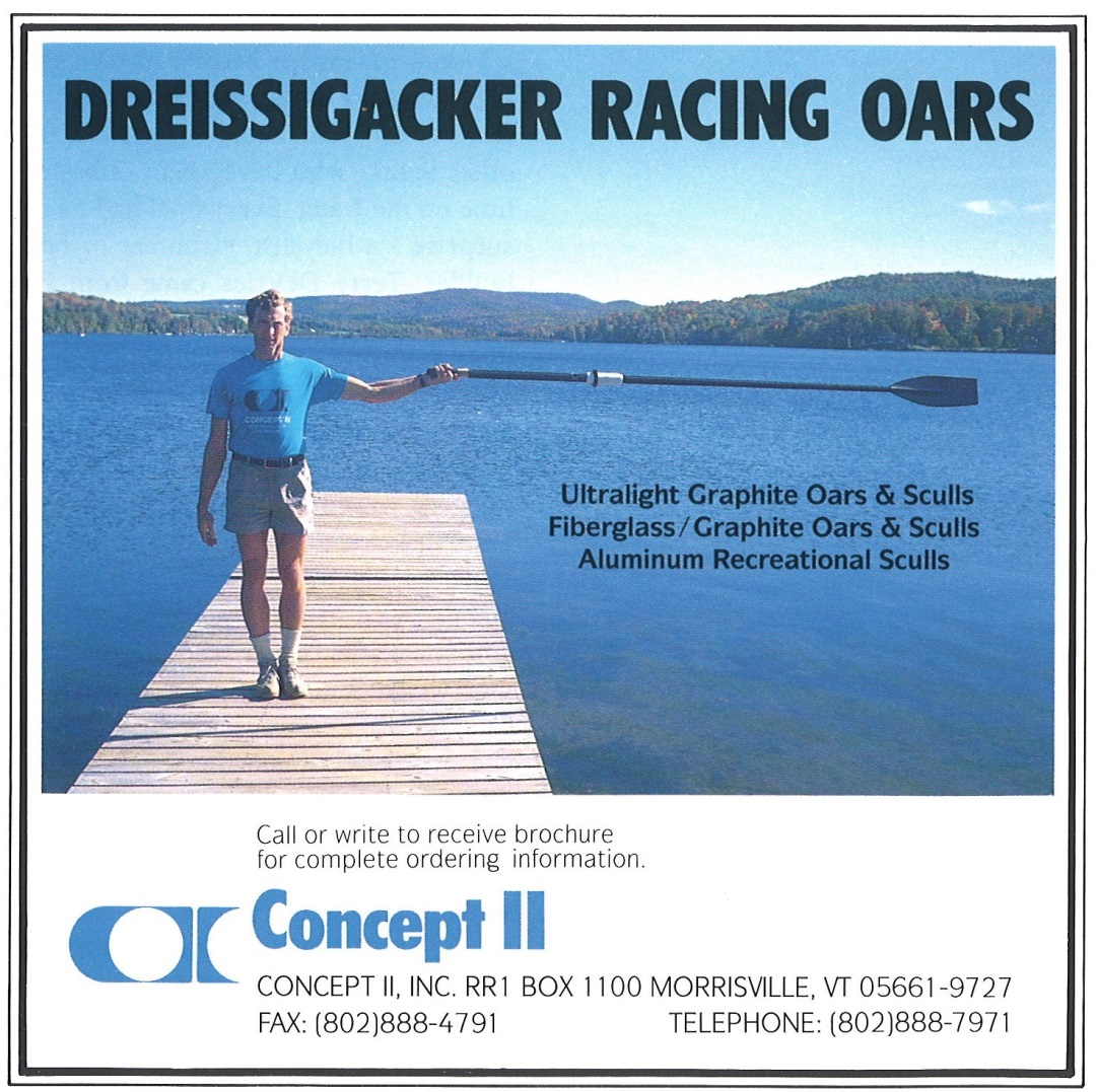 Early advertisement in the now-defunct <i>American Rowing</i> magazine.<br><br><i>Dick Dreissigacker advertising the Macon blade.</i>
